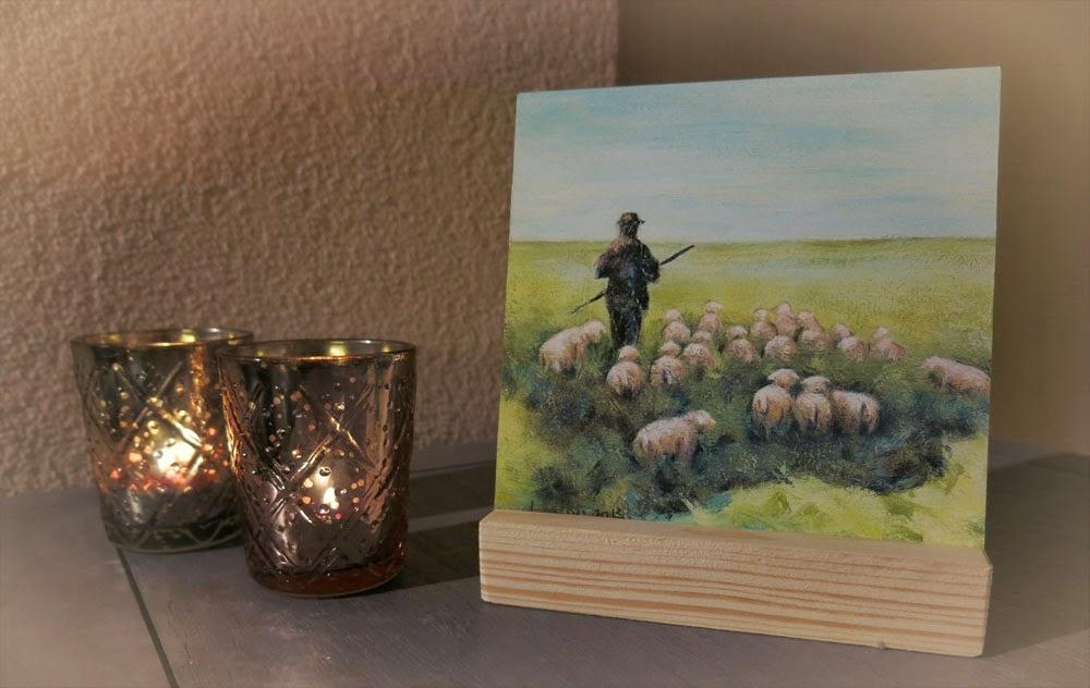 Schilderij Herder met schapen, kunstcadeautje Atelier for Hope Doetinchem