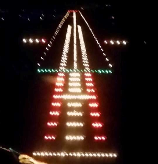 King Shaka International Runway Lights At Night