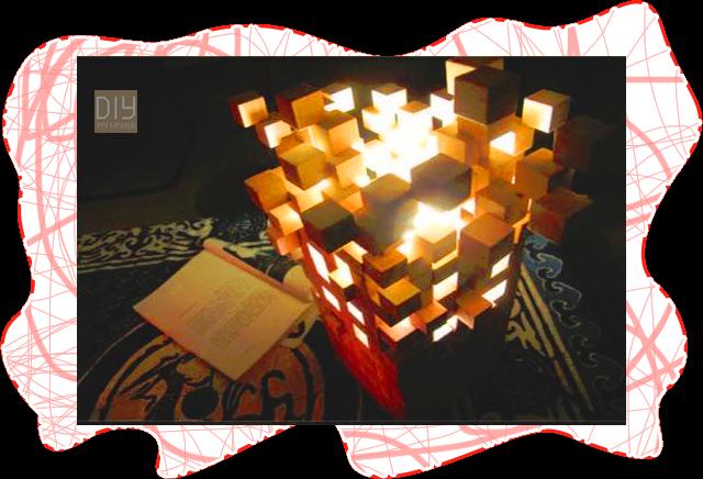 วิธีการสร้างโคมไฟประดิษฐ์จากไม้ลูกบาศก์ขนาดเล็ก