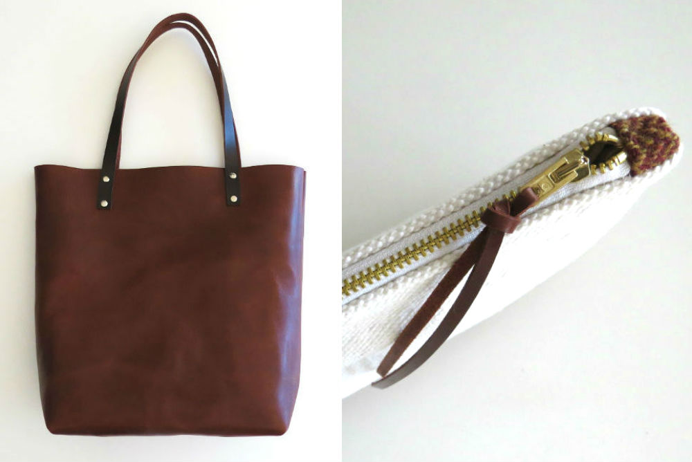 leather tote bag and herringbone wool pouch