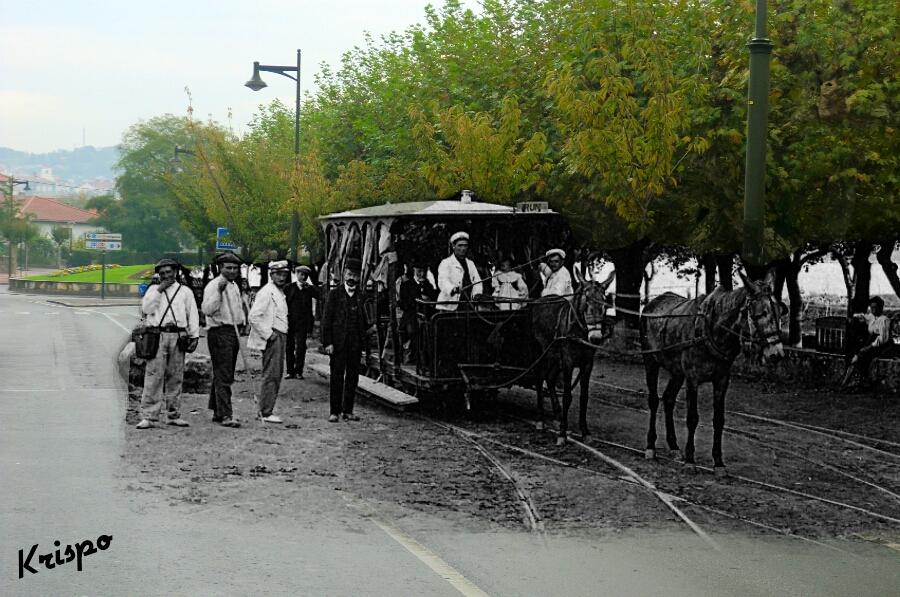 fotografia antigua del tranvia de hondarribia