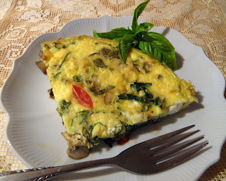 Slice of Greek Frittata on Plate with Fork