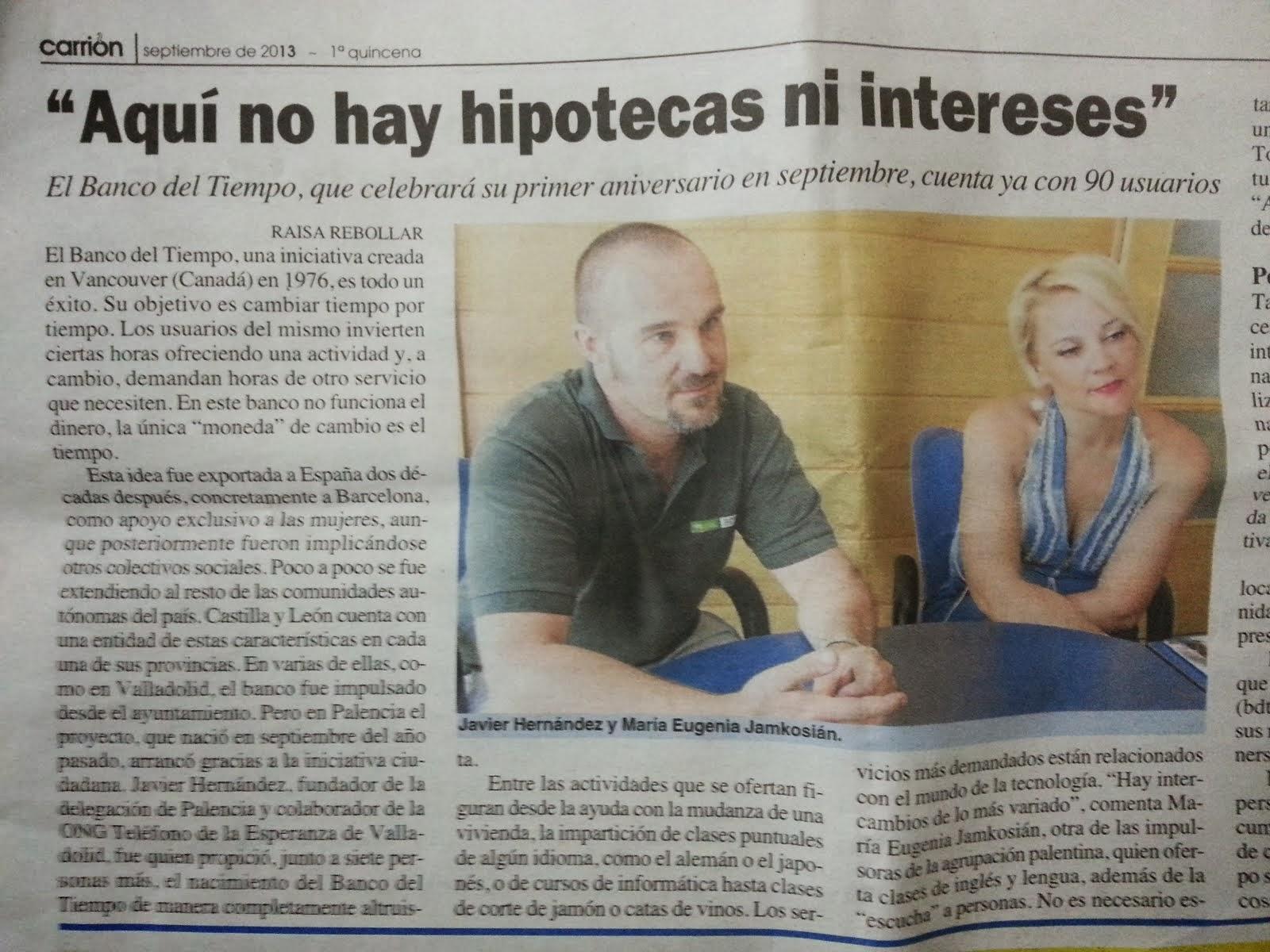 Periódico El Carrión. Entrevista Agosto 2013