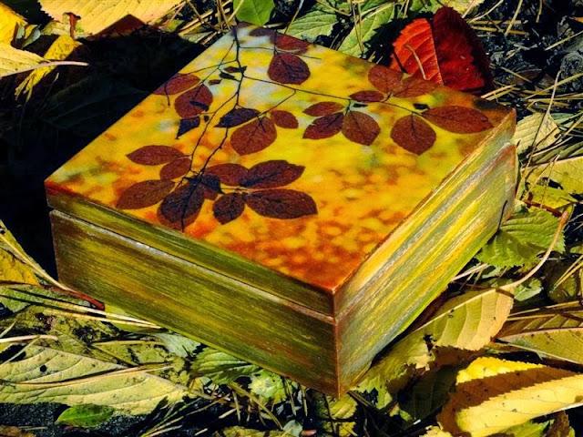 pudełko jesienne decoupage serwetka liście fall decoupage