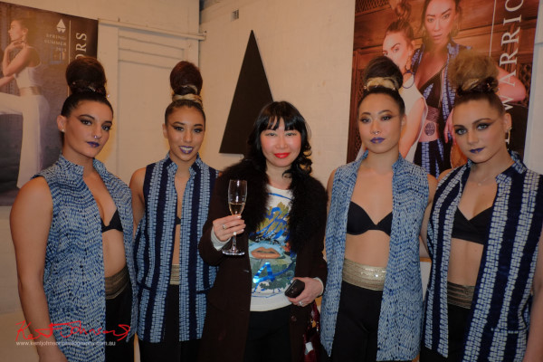 Blogger vivalaViv with the dancers, Wolftress WE ARE WARRIORS, VIP Launch 2015 - Photo by Kent Johnson.