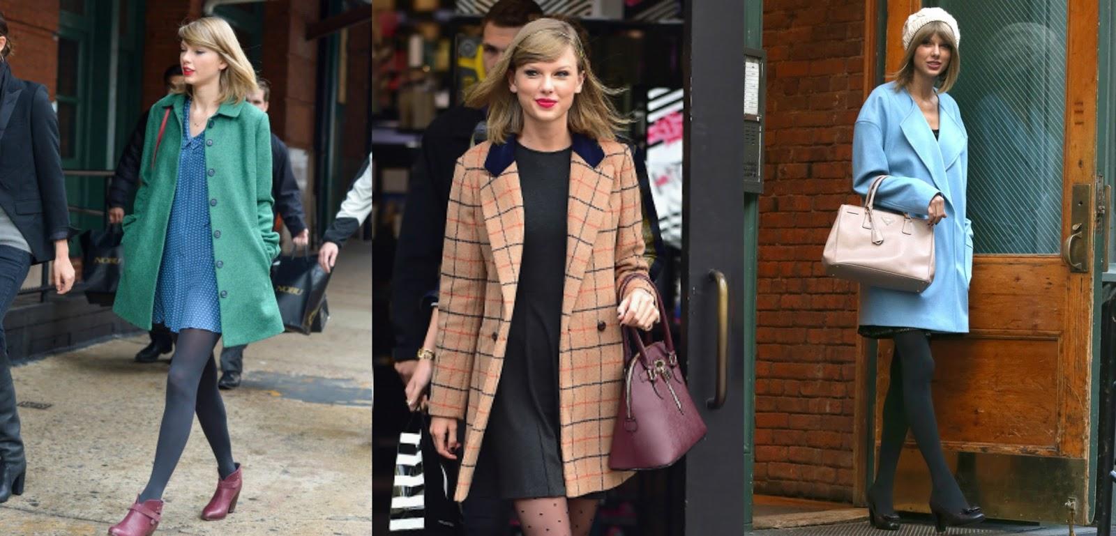 Uno de los clásicos de Taylor es el abrigo con tonos suaves, acompañado de  vestidos cortos y pantys oscuras. Ademas suele agregar a su outfit bolsos  de asa