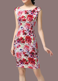 Clearance Sales: Simple Elegant Canvas Printing Pure Silk Dress
