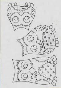 Moldes para patchwork de coruja