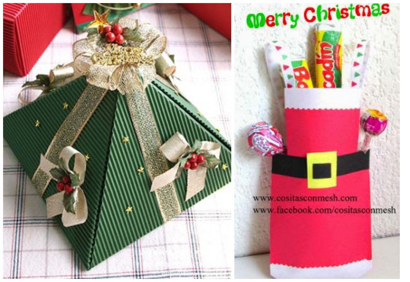 C mo hacer cajitas y bolsitas navide as para regalar - Cosas para regalar para navidad ...