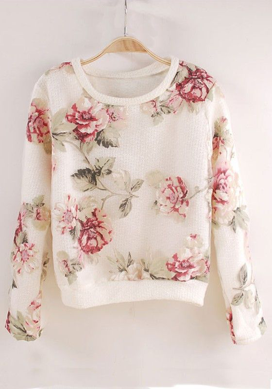Beautiful White Flowers Print Long Sleeve Acrylic T-Shirt