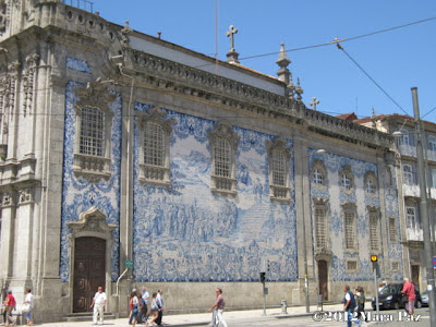 Tiled facade of Carmelitas Church in Oporto