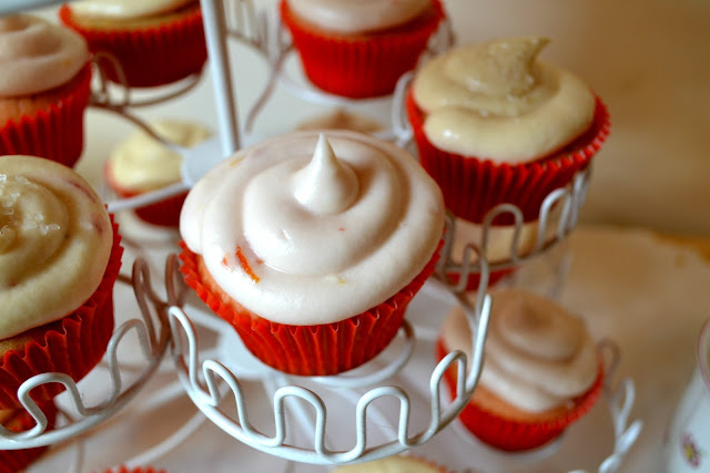 tea party, diy, baking, cupcakes, fleur d'elise, cream cheese frosting, blood orange