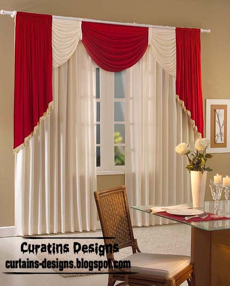 Crushed Curtain Spanish Design Red, White Curtain