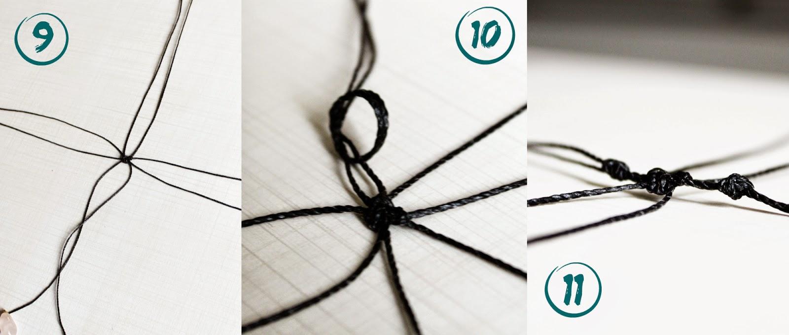 8. Coloque um par em cima do outro, de forma perpendicular, e dê um nó no meio, para que fiquem bem firmes.