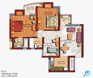 Czar Suites :: Floor Plans:-G+13 2 Bedroom (1st to 11th Floor) Area - 1295 sq. ft.