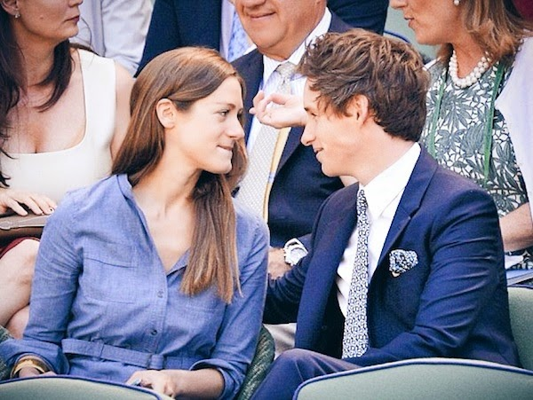 Eddie Redmayne in Alexander McQueen suit at Wimbledon Lawn Tennis Championships in London 3rd July 2014