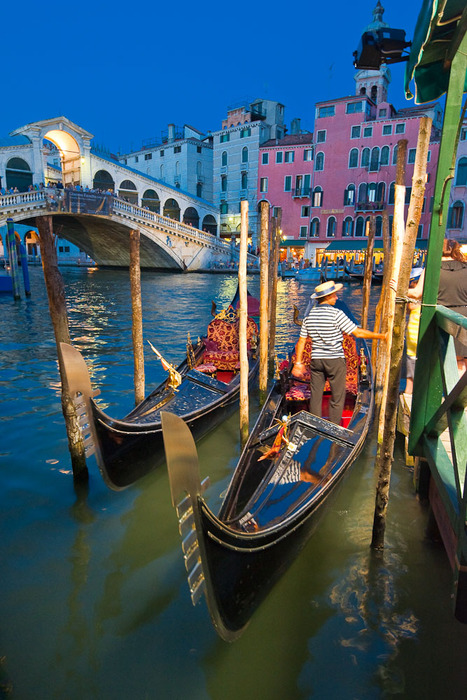 Dusk, Gondola Stand, Venice, Italy