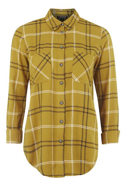 mustard check shirt, mustard shirt, topshop mustard blouse,