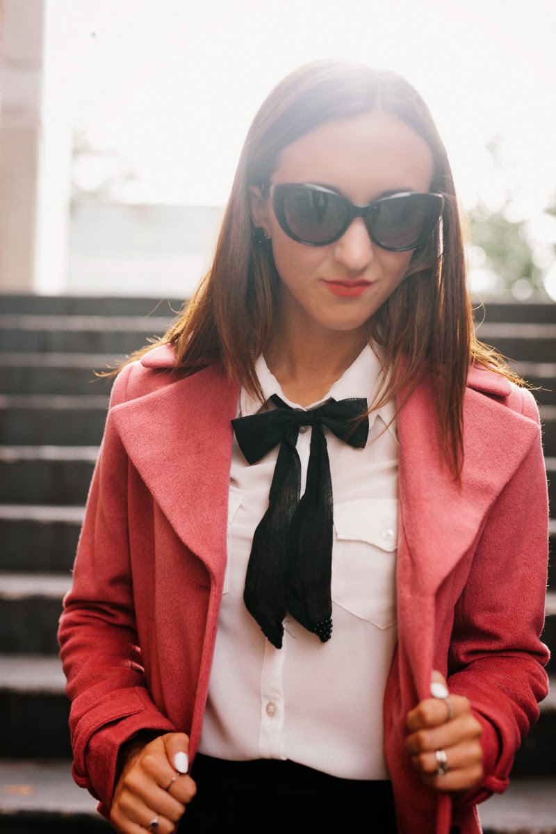 pleated skirt, black schoolgirl skirt, cat-eye sunglasses, knee high socks, kate spade bow heels, snap on bow tie, nars lipstick, blair waldorf outfit