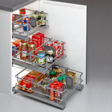 Cesto extraible multiuso plus tu cocina y ba o - Cestas extraibles para armarios ...