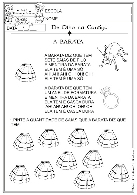 Atividade Folclore Cantiga de Roda A Barata