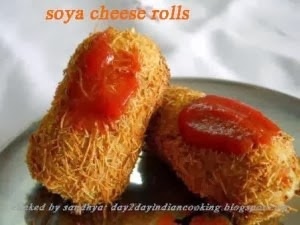 recipe of making soya granules and cheese rolls, indian snack recipe
