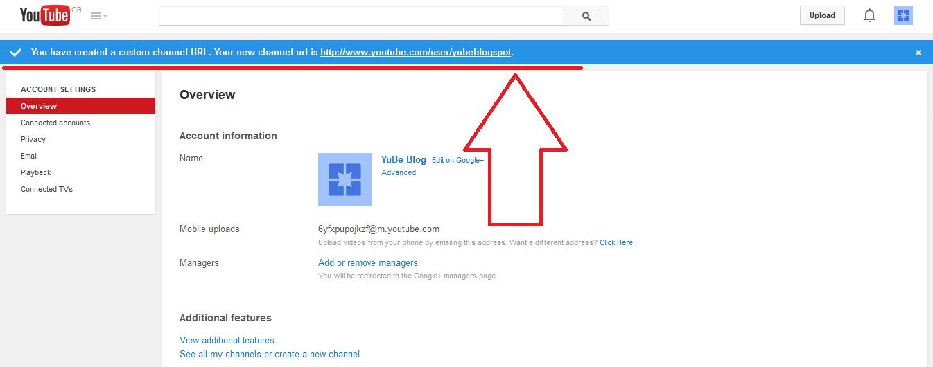 create youtube channel url