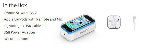 iPhone 5C - O que vem junto com o iPhone 5C que são os fones de ouvidos, adaptador USB e o Cabo de Lightning para USB