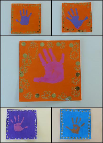 Yves Klein et empreinte de main en maternelle