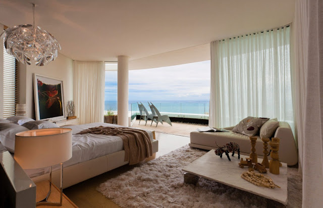 Picture of modern bedroom with the ocean view