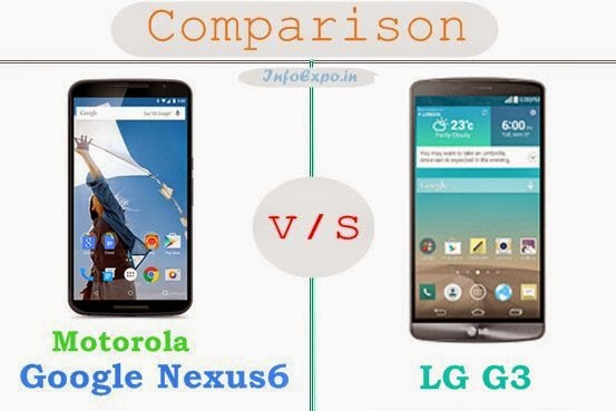 Motorola Google Nexus 6 versus LG G3 specifications and features comparison RAM,Display,Processor,Memory,Battery,camera,connectivity,special feature etc