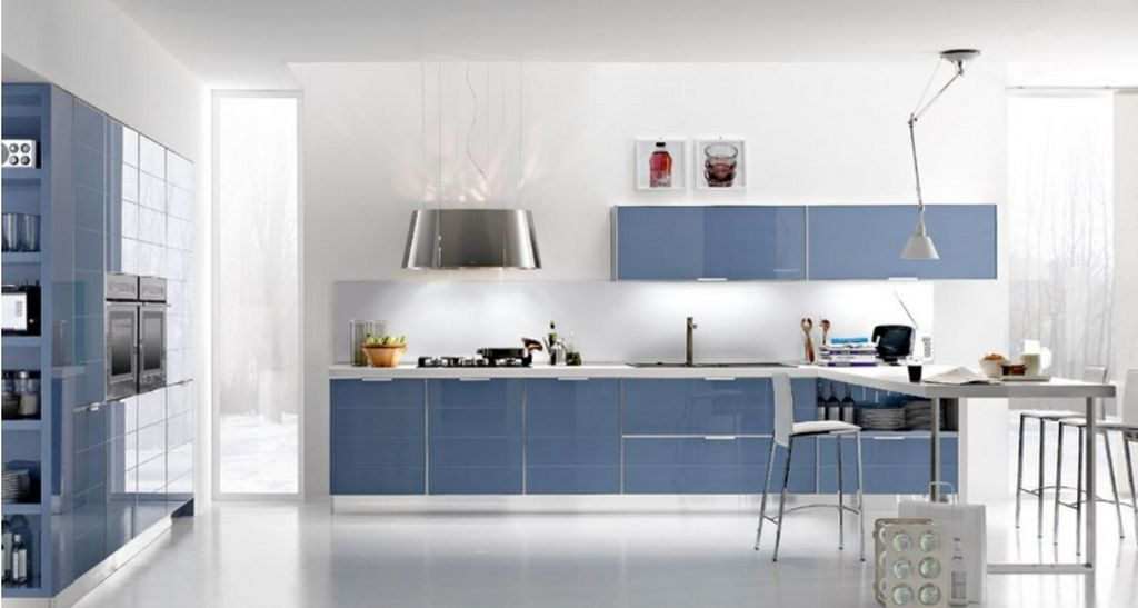 Cuisine design bleu marine for Article de cuisine commercial