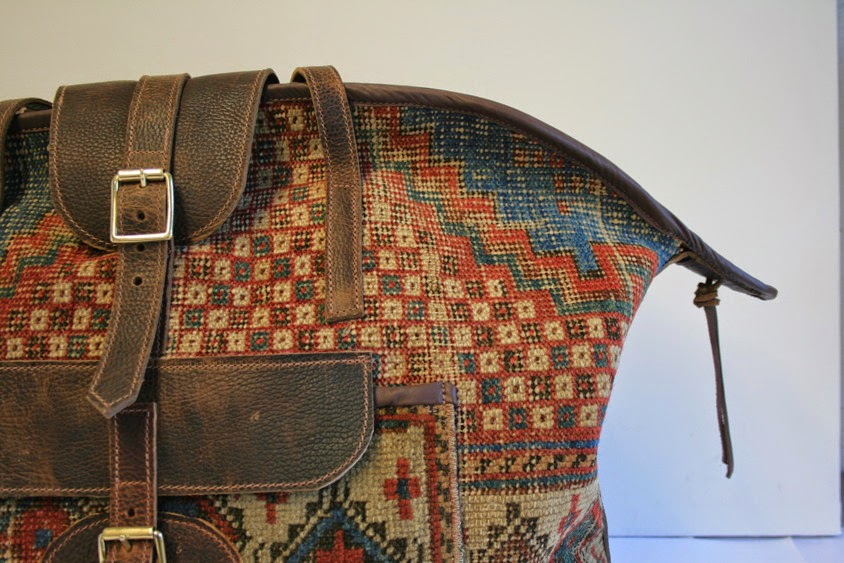 handmade vintage carpet travelling bag
