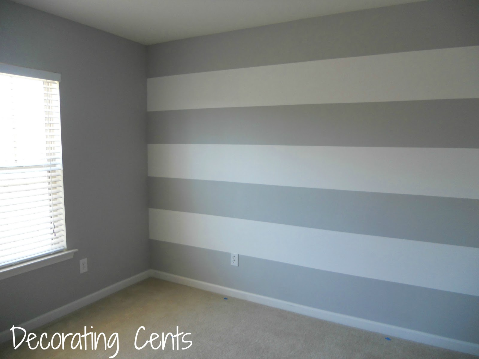 Decorating cents painting a striped wall for Bedroom stripe paint ideas