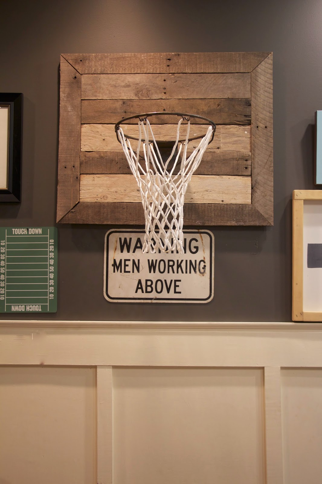My sweet savannah thrifty thursday diy basketball hoop for Basketball hoop inside garage