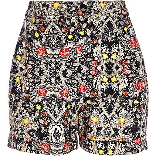 patterned high waist shorts