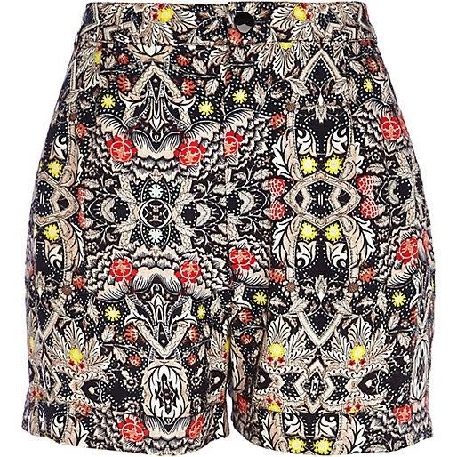 patterned high waist shorts
