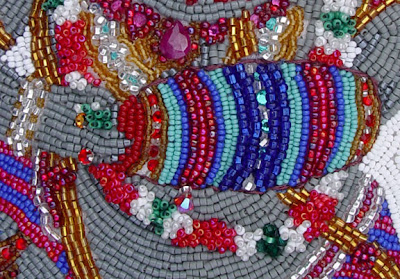 Janet Dann, bead embroidery, ganesh, drum, jewels detail