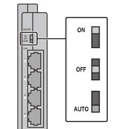 動作モード切替スイッチを「AUTO」または「OFF」