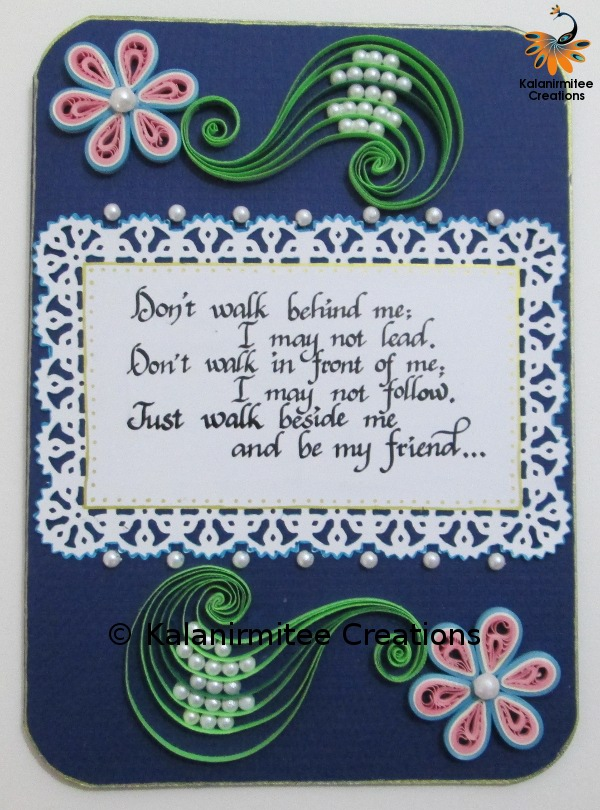 Friendship Card Making Ideas Part - 23: Quilled Card