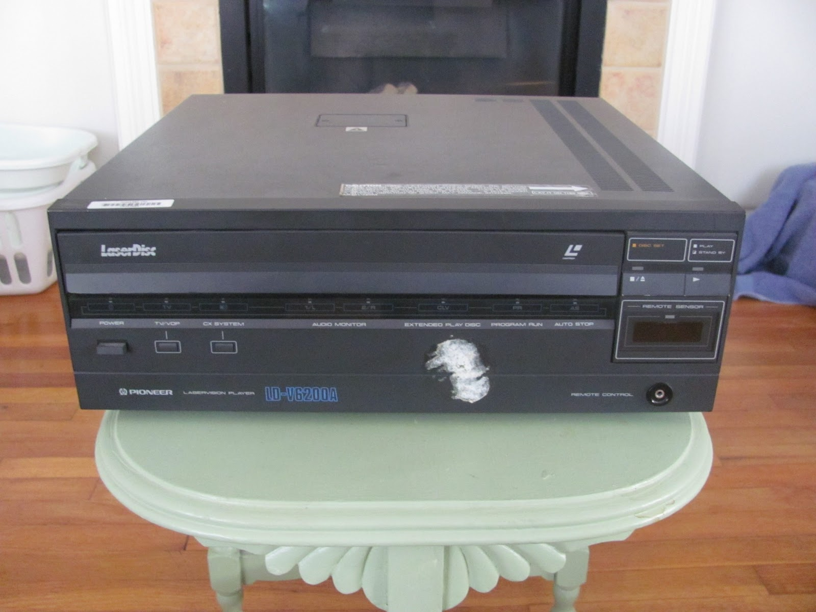 Laserdisc player on display before being sold on Craigslist