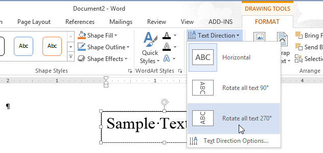Cách thay đổi hướng của văn bản trong Word 2013 2