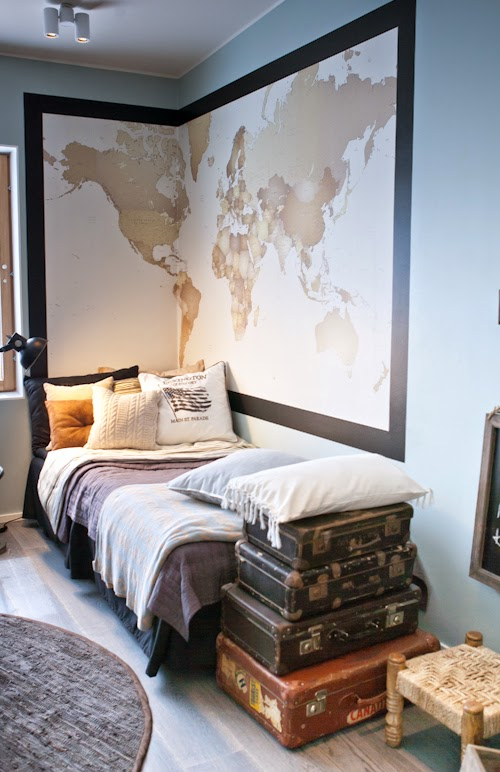large map as headboard for boys room