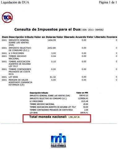 al total de impuestos liquidados en base a un valor de $6.132