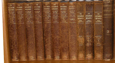 Encyclopaedia Britannica (Americans spell it Encyclopedia Britannica) published in 1910-1911 shown next to the three added volumes printed in 1922