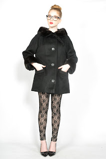 Vintage 1960's black wool mini swing coat with black mink fur collar and cuffs.