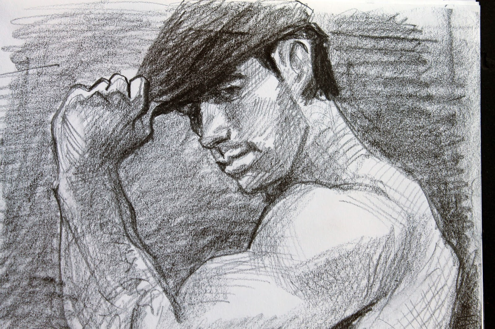 The hot irish guy he met on the heath pencil on paper 9 x 12