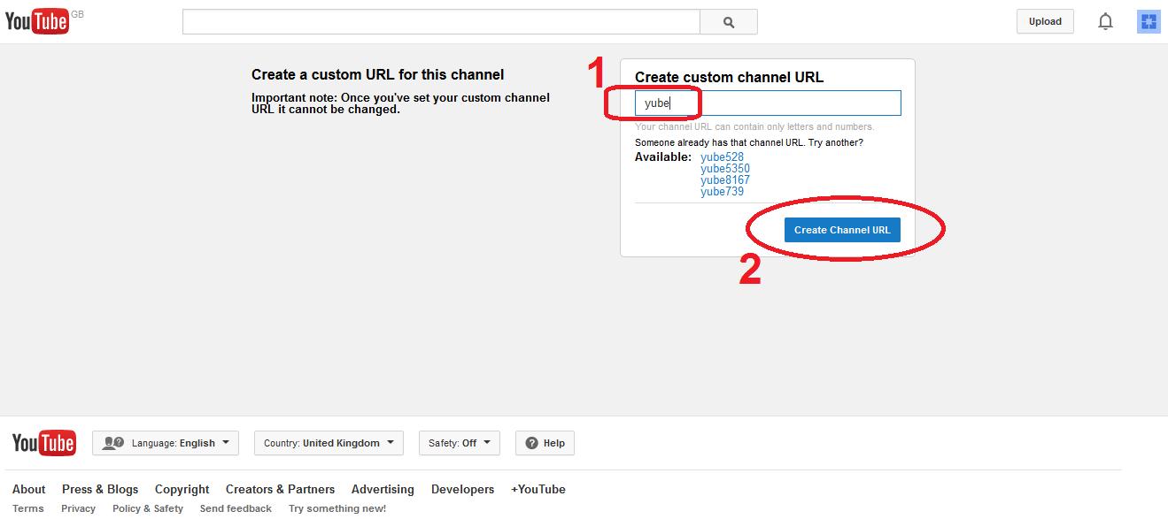 change youtube channel url