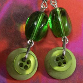 Long drop dangle earrings with green oval glass beads and pretty fashion buttons