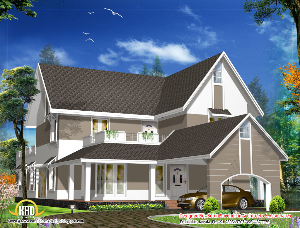 Sloping roof house design 3305 sq ft indian home decor for Sloped roof house plans in india